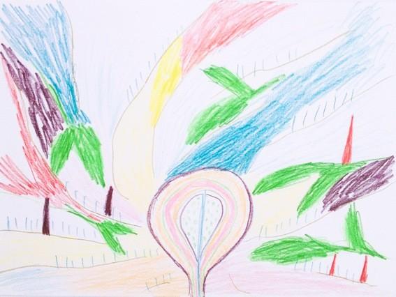 Landschaft mit Farbschlieren, pencil on paper, 210x297mm, 2013